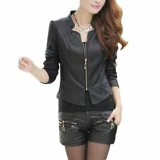 Winter Wear Solid Pattern O-neck Pu Leather Material Vintage Jacket for Women