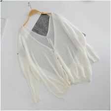 Women Summer Knitted Casual Long Sleeve Open Stitch V-neck Coat CH086