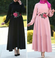 Flower Women Muslim Long Sleeve Dress Islamic Abaya Vintage Arab Long Maxi Dress