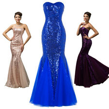 Sequins Mermaid Long Formal Evening Prom Cocktail Party Bridesmaid Wedding Dress