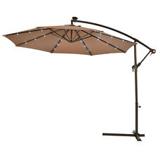 1PCS Outdoor 10' Hanging Solar LED Umbrella Patio Sun Shade Offset Market W/Base