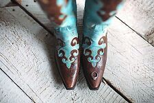 "Lane Cowgirl Turquoise and Brown ""Dawson"" Boots LB0023A ​"