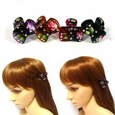 Pair Small Mini Leaf Floral Plastic Hair Claw Clip Clamp Pin Rhinestone Deco New