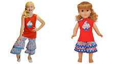 "AnnLoren Girls Chevron & Polka Dot Rumba Tunic & Capri +18"" Doll Outfit $67.98"