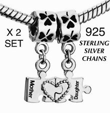 X2 Mother Daughter 925 Sterling Silver Chains Necklace Set Heart Jigsaw Mum Gift
