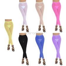 Womens Compression Mesh See-through Tights Pants Gym Yoga Sports Fitness Trouser