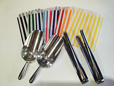 HIGH QUALITY Candy Stripe Bags, Scoops & Tongs - DIY CANDY SWEET BUFFET, PARTY