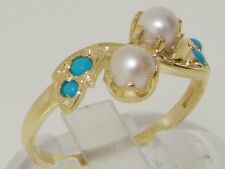 10ct Yellow Gold Cultured Pearl & Turquoise Womens Band Ring - Sizes J to Z