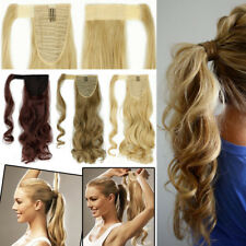 US Sotck Clip in Hair Strap Wrap Around Ponytail Long Layered Hair Extensions AC