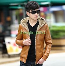 Mens Fashion Slim Fit PU Leather Warm Lined Hooded Motorcycle Zipper Jacket Coat