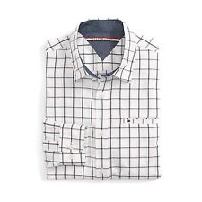 New Tommy Hilfiger Mens Custom Fit Longsleeve Button Shirt White Navy NWT