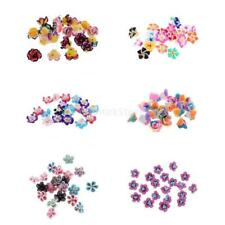 20pcs Mixed Colors Clay Flower Spacer Cross Hole Beads DIY Jewelry Findings