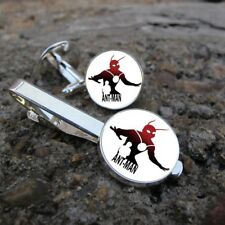 ANT-MAN Cuff Links Superhero Clasp Pin Silver Tie Clips Mens Cufflink Gift