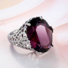 Women Platinum Plated Purple Zircon Hollow Out Ring Jewelry Size 6-10 Eyeful