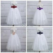 Flower Girls Kids Princess Bow Sequins Dress Pageant Party Wedding Birthday Hot