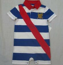 RALPH LAUREN polo baby boys blue white striped red shortalls romper rugby NEW