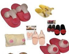 Novelty Penis & Boob Slippers. Boob Pillow.Stag Hen Night Gift. Aduly Party