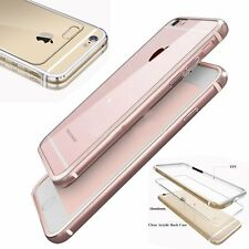 Thin Clear Glossy Acrylic Back Silicone Aluminum Bumper Case Cover for iPhone 6s
