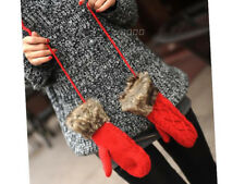 Gloves Women's - Hang Neck Winter Mittens Knitted Warm Fur Colorful Gloves Hot