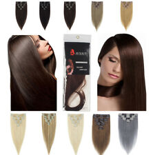 Remy Human Hair Extensions Double Weft Clip in Full Head Long Straight Lady Hair
