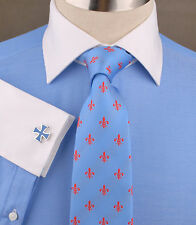 Light Blue Twill Business Dress Shirt White Oxford Spread Collar Contrast Cuff