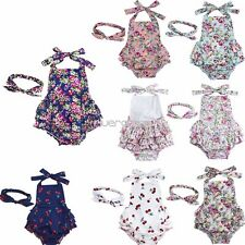 Newborn Infant Baby Girls Princess Romper Bodysuit Floral Dress Outfit Headband