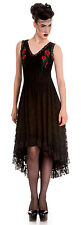DRAMATIC BLACK HELL BUNNY spin doctor STEAMPUNK GOTH lace DRESS XS 8 10 emo vamp
