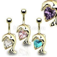 Gold Plated Dolphin Solitaire Heart Navel Ring 316L Surgical Stainless
