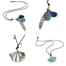 Vintage Necklace Leaf Alloy Pendant Wax Rope Chain Women Men Ethnic Jewelry