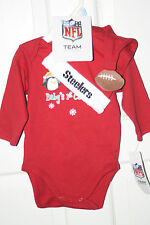 NEW 2-pc Pittsburgh Steelers Baby's 1st Christmas RED Shirt, Hat, RETAIL $20