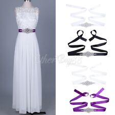 Deluxe Rhinestone Bridal Sash Waist Belt Satin Ribbon Wedding Party Dress