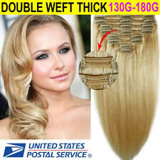 100% Real Natural Clip in Remy Human Hair Extensions Double Weft Thick Lady Love