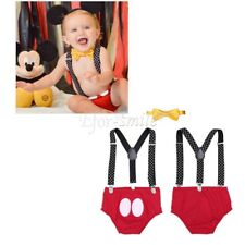 Baby Boy Bowtie Mickey Outfit Bloomer Adjustable Suspenders Birthday Photo Props