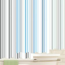 "Blue / Grey / Duck Egg 100% Polyester ""Brighton Rock"" Striped Shower Curtain 