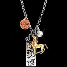 Western Live Love Ride Hammered Plate Heart Horse Charms Necklace Earring