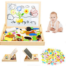 New Drawing Writing Board Magnetic Puzzle Double Easel Kid Wooden Toy