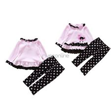 2Pcs Infant Baby Girls Kid Outfit Tops Pants Clothes T-shirt Set Polka Dots Suit