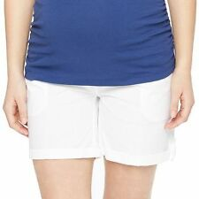 Maternity Oh Baby by Motherhood Secret Fit Belly Cuffed Shorts White L, M NWT