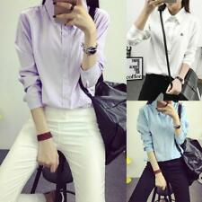 UK Women Button Down Long Sleeve Shirt OL Lady Formal Business Suit Tops Blouse