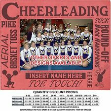 Personalized Cheerleading Picture Frame Custom Laser Engraved Cheer Gift School