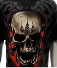 Thai Tattoo Skull T-Shirt Rock Eagle Biker 100% Cotton Shortsleeve
