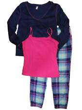 Junior Womens Blue Plaid 3 Piece Fleece Pajamas Sleep Set with Camisole
