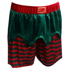 Mad Engine Mens Velour Christmas Elf Holiday Boxer Shorts