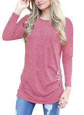 Women Casual Long Sleeve Round Neck Loose Tunic Top Blouse T-Shirt Buttons Decor