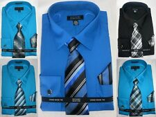 Bergamo New York Men's 4-Piece Dress Shirt, Tie, Pocket Square & Cuff Links Set