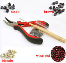 Feather Hair Extensions Pliers Tool KIT + 350pcs Micro Silicone Beads + 1 Hook