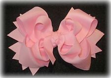 Light Pink Boutique Hair Bow 3 layers of Loops Spikes Funky Hairbow Girls Baby