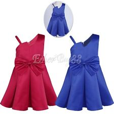 One-shoulder Bow Satin Flower Girl Dress Princess Pageant Wedding Formal Party
