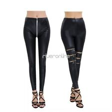 Womens Faux Leather Wetlook Slim Stretchy Leggings Trousers Skinny Pants Tight