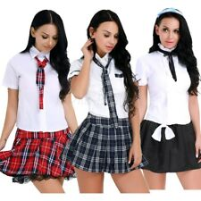 Womens Lady Naughty School Girl Uniform Fancy Dress Costume Cosplay Party Outfit
